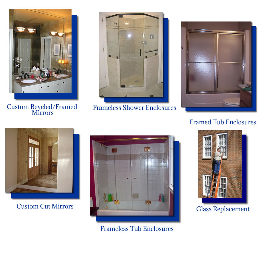 beveled mirrors, framed tub enclosures, framless tub enclosures, frameless shower enclosures, replacement glass