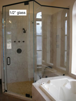 shower enclosure with angled walls