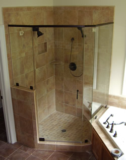 framed shower with cutout for tub